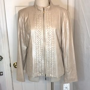 NWT Doncaster Shimmer Gold Leather Jacket size 16